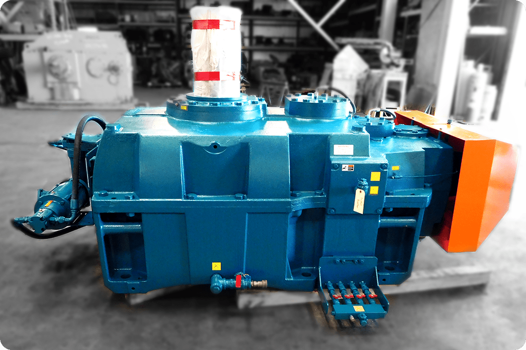 Industrial gearbox by Hansen Falk repaired and painted by Power Transmission Services